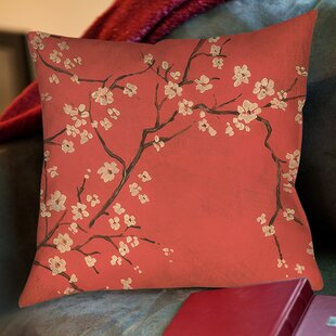 Golden Cherry Blossom Printed Throw Pillow