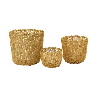 Wild Woven Wire 3 Piece Basket Set by Bungalow Rose