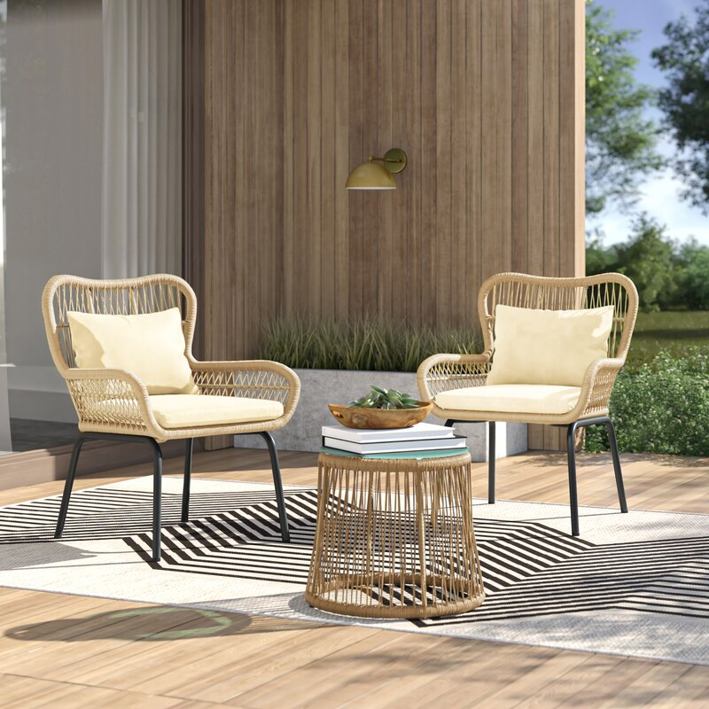 Dimitri Patio 3 Piece Seating Group With Cushions Reviews Allmodern