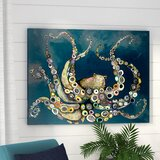 Octopus in the Deep Blue Sea - Wrapped Canvas Print by Beachcrest Home