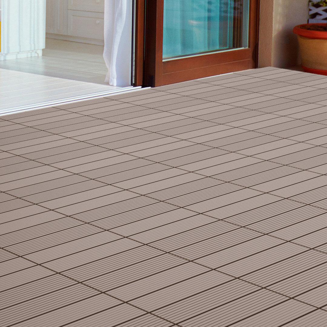 Pure Garden Slat Patio 12 X 12 Composite Interlocking Deck Tile