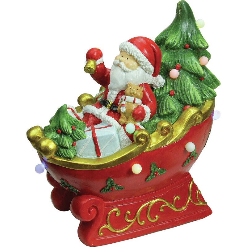 led lighted and musical santa in a sleigh decorative christmas tabletop figure