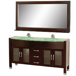 With Optional Mirror Source · Wyndham Collection Daytona 62 75 Double Espresso  Bathroom Vanity