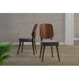 Giovanna Upholstered Dining Chair with Wood Seat Back (Set of 2)