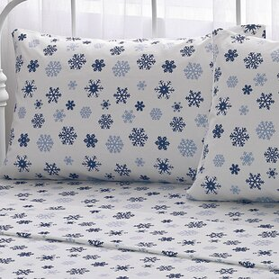 Big Snowflake 100% Cotton Flannel Sheet Set