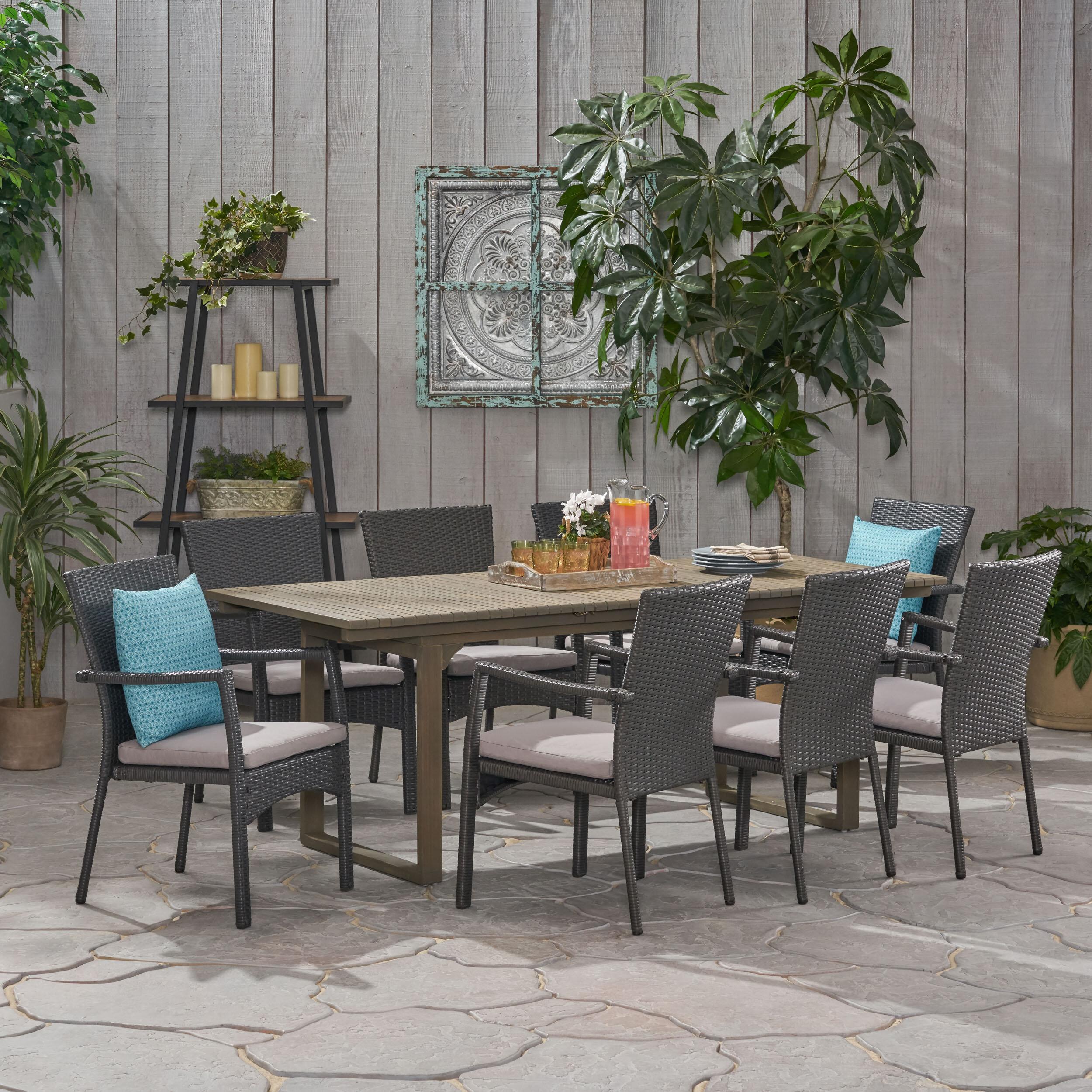 Ivy Bronx Chul Outdoor 9 Piece Dining Set With Cushions Wayfair