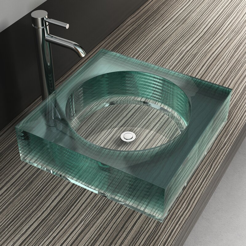 Cantrio Koncepts Layered Glass Square Vessel Bathroom Sink