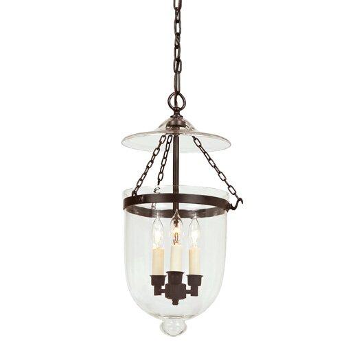 3-Light Medium Bell Jar Foyer Pendant