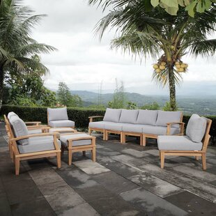 Elaina Outdoor Patio 10 Piece Teak Sectional Seating Group with Cushion