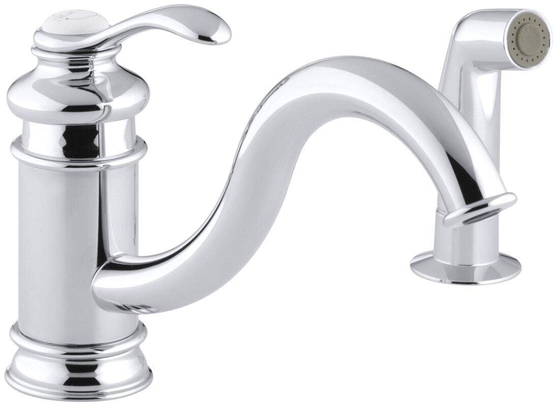K-12176-BN,CP Kohler Fairfax Single Hole Kitchen Sink Faucet with 9 ...
