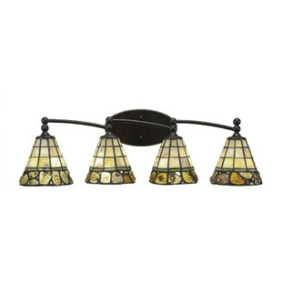 Winston Porter Skypark 4-Light Cobblestone Tiffany Glass Shade Vanity Light