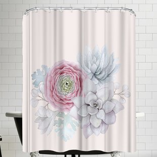 Grab My Art Boho Flower And Succulent Single Shower Curtain