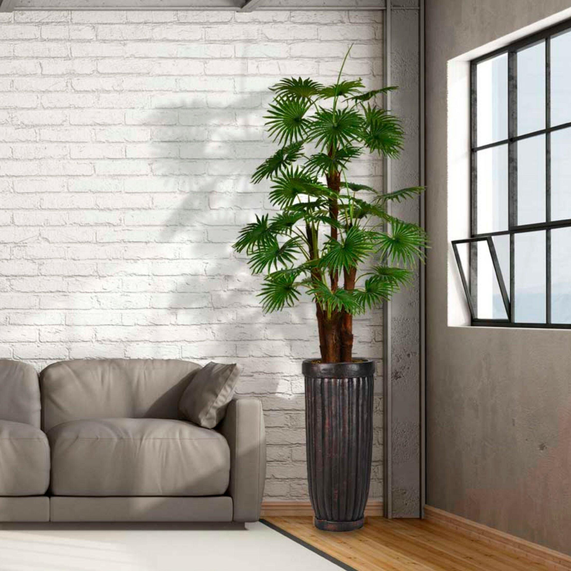 Red Barrel Studio Artificial Indoor Outdoor Décor Floor Palm Tree In Planter Wayfair