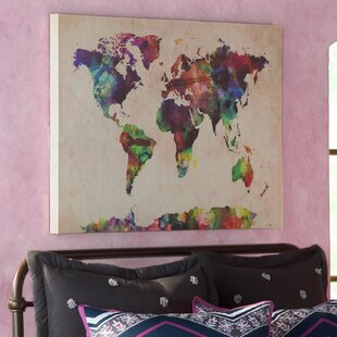 World map push pin wayfair urban watercolor world map framed on beige canvas gumiabroncs Image collections