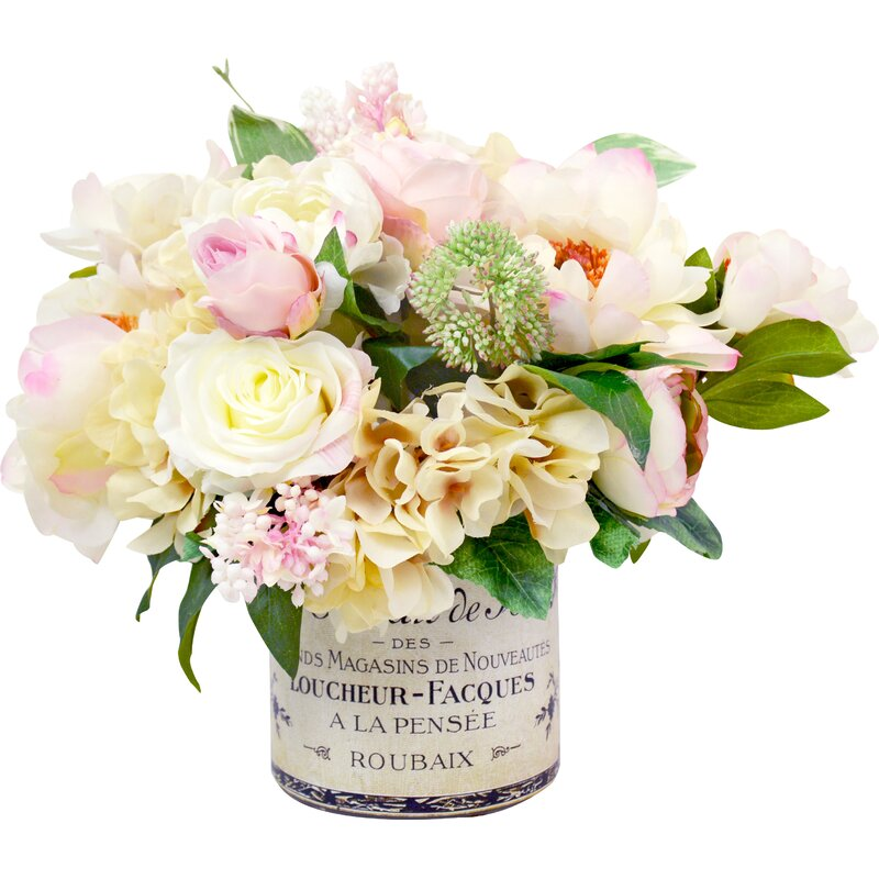 Mixed Peony And Hydrangea Centerpiece In French Label Pot