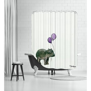 Nursery Hippo Single Shower Curtain
