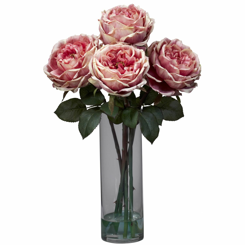 Nearly natural fancy rose with cylinder vase silk floral nearly natural fancy rose with cylinder vase silk floral arrangements in pink reviews wayfair reviewsmspy