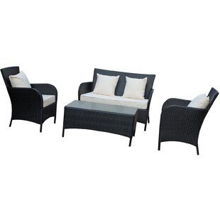 Prosper 4 Piece Rattan Sofa Set with Cushions