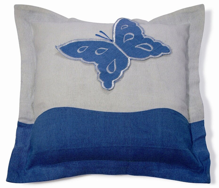 Embroidery Butterfly Cotton Throw Pillow