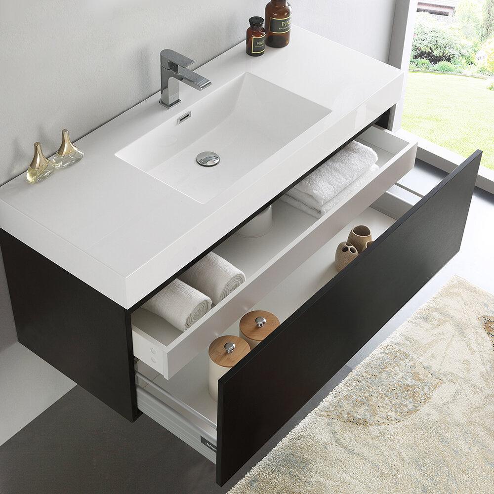 Fresca Mezzo 47 Wall Mounted Single Bathroom Vanity Set Wayfair