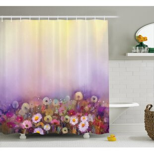 Lorri Bed With Different Blossoms Types Fresh Romantic Garden Paint Single Shower Curtain