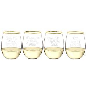 Kepley 4 Piece 19.25 Oz. Stemless Wine Glass Set