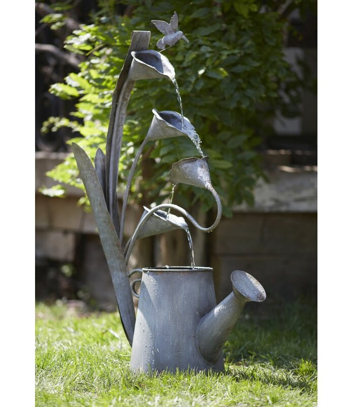 Water Can and Anthurium Hummingbird Metal Fountain