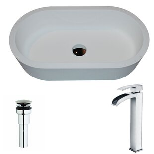 ANZZI Vaine Stone Oval Vessel Bathroom Sink with Faucet