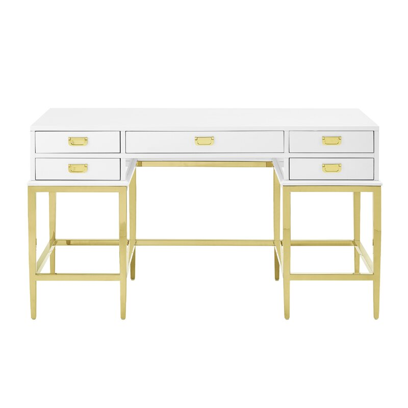 Gilbery Stainless Steel and Antique Glass Five Drawer Writing Desk - Gilbery Stainless Steel And Antique Glass Five Drawer Writing Desk