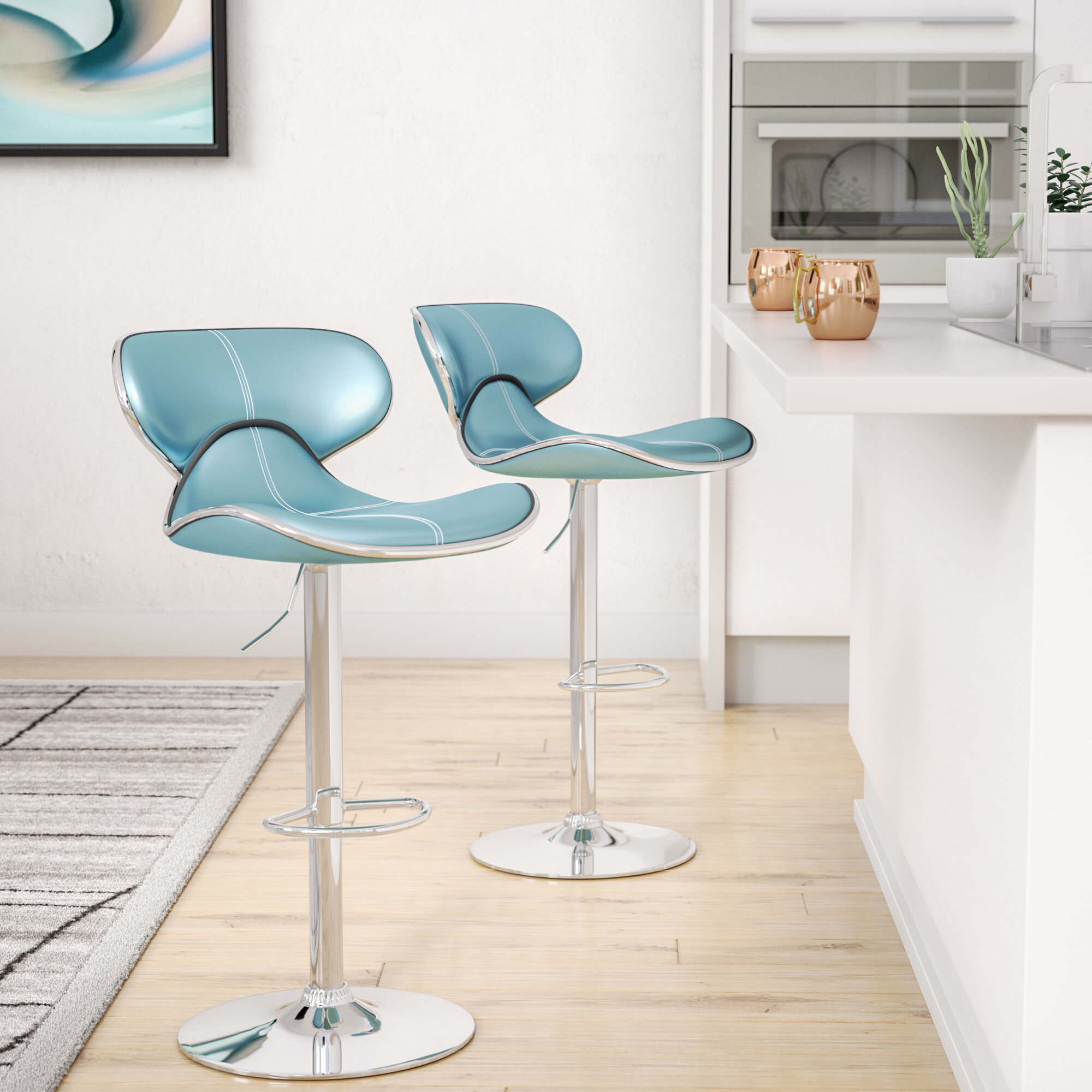 Wade Logan Harlow Adjustable Height Swivel bar stools | Wayfair