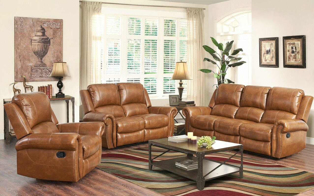 Bitter Root Leather Reclining Sofa