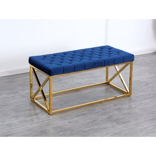 Navy Blue Velvet Bedroom Bench | Wayfair