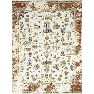 Compare One-of-a-Kind Crossett Hand-Knotted Wool White Indoor Area Rug By Isabelline