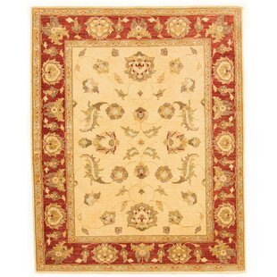 Geneva Hand Knotted Wool Red/Beige Rug by Rosalind Wheeler
