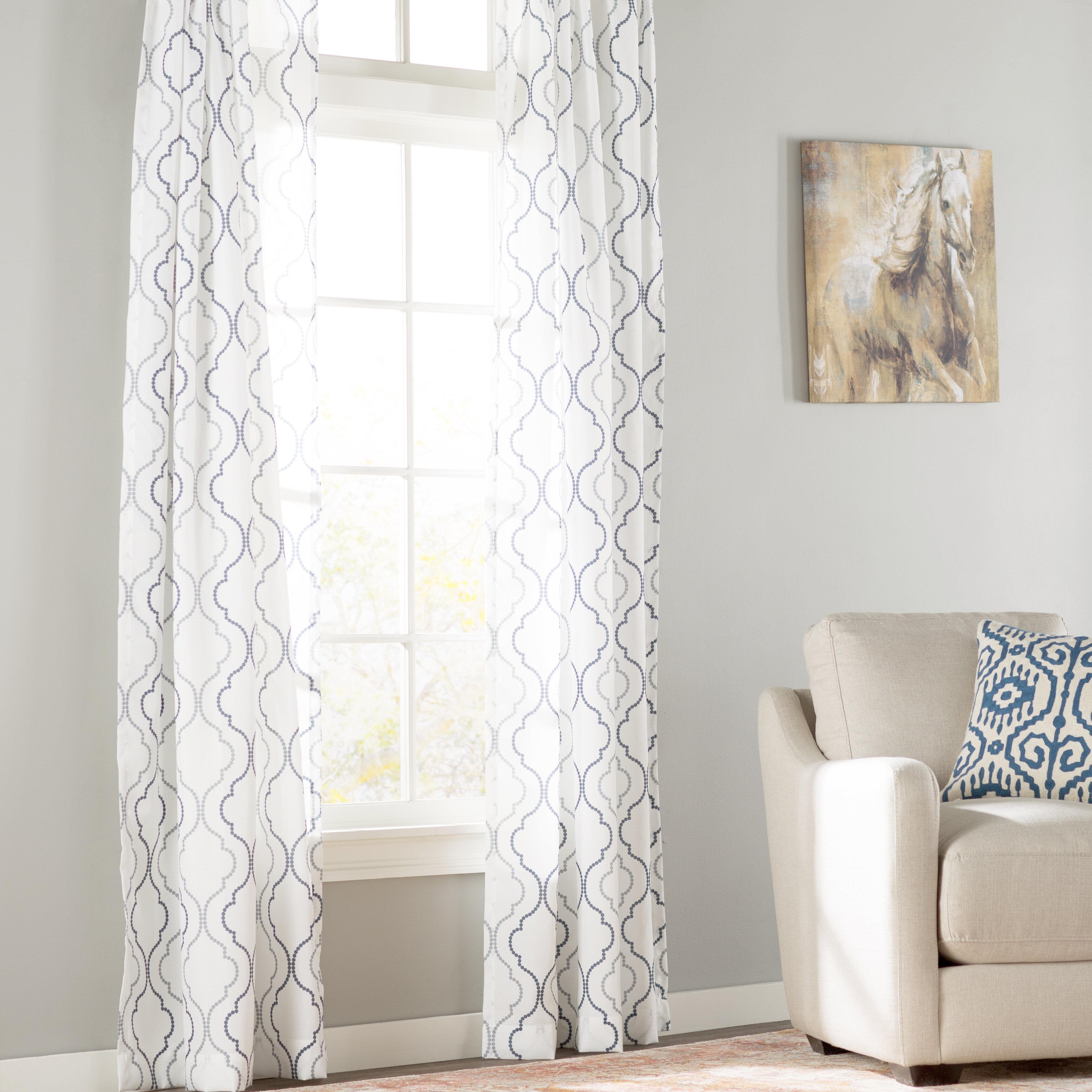 Three Posts Lindstrom Geometric Semi Sheer Rod Pocket Single Curtain Panel Reviews Wayfair