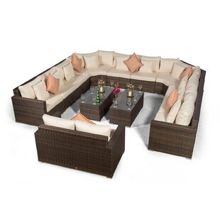 Villasenor Brown Rattan 10 Seat Sofa With 2 X Rectangle Coffee Table & 2 Seat Sofa, Outdoor Patio Garden Furniture Image