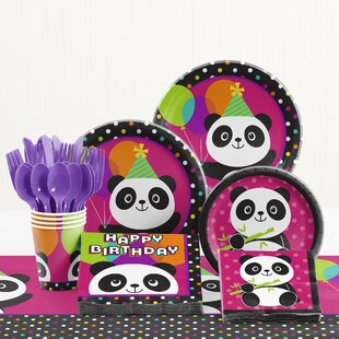 81 Piece Panda-Monium Birthday Paper/Plastic Tableware Set