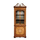 Windsor Satinwood Glazed Lighted Corner China Cabinet by Jonathan Charles Fine Furniture