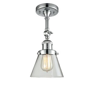 Funchess Glass Cone 1-Light Semi Flush Mount by Ebern Designs