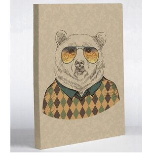 Hipster Bear Graphic Art Wrapped on Canvas by One Bella Casa