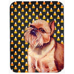 Halloween Candy Corn Brussels Griffon Portrait Glass Cutting Board By Caroline's Treasures
