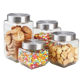 Square Glass 4 Piece Kitchen Canister Set