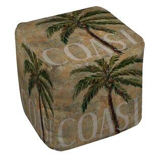 Coastal Palm Postcard Pouf