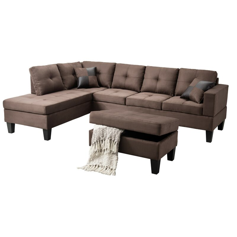 Charlton Home Richview Reversible Sectional Sofa with Ottoman ...