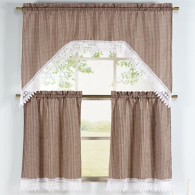 Window Elements Checkered 3 Piece Embroidered Kitchen Valance and Tier Set Colour: Chocolate
