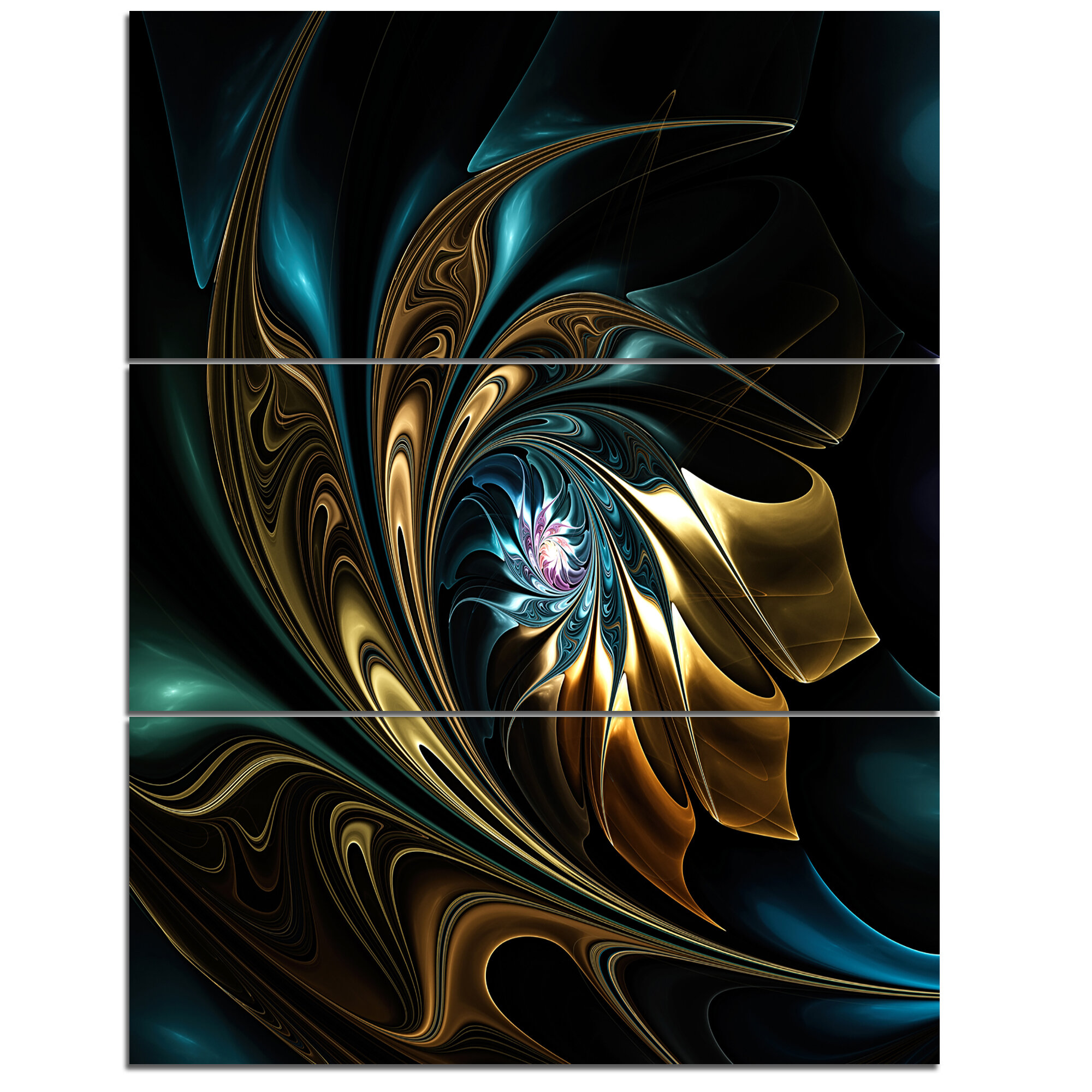 Designart Brown Blue Fractal Flower In Black 3 Piece Graphic Art On Wrapped Canvas Set Wayfair