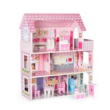 Wooden Dollhouse With Furniture, Pretend Play Doll House Toys For Kids, Gift For Girls