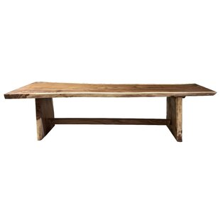 Darryl Single Piece Slab Live Edge Solid Wood Dining Table Loon Peak