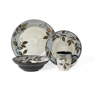 Rustic Leaves 16 Piece Dinnerware Set, Service for 4