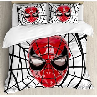 Superhero Mask with Spider Eyes and Web Print Fun Kids Cartoon Character Image Duvet Cover Set